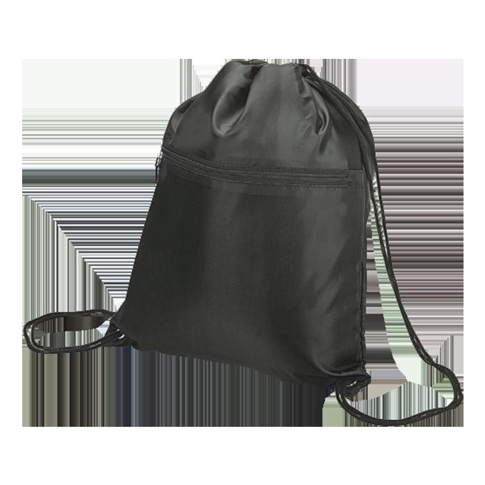 BB0002 - Drawstring Sport Bag With Zip Pocket - 210D
