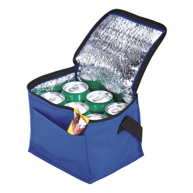 6 Can Cooler with Foil Liner and Pocket - Non-Woven Foil Lining