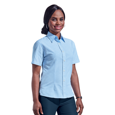 Ladies Chambray Blouse Short Sleeve