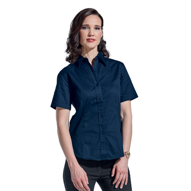 Ladies Brushed Cotton Twill Blouse Short Sleeve