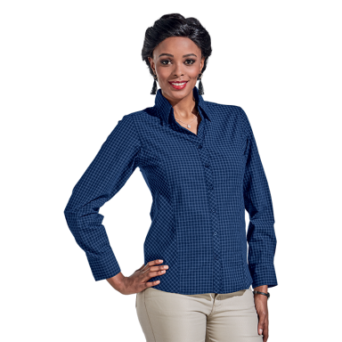 Ladies Pioneer Check Blouse Long Sleeve