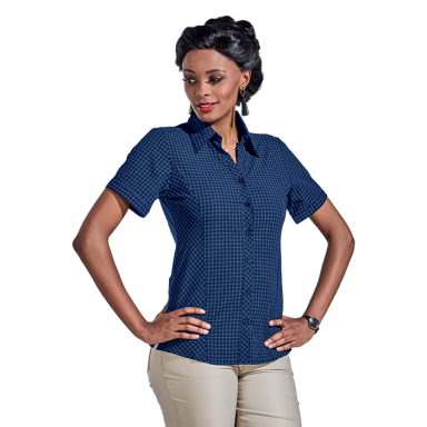 Ladies Pioneer Check Blouse Short Sleeve