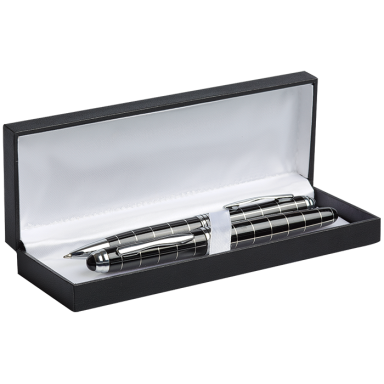 Striped Ballpoint and Rollerball Pen Set
