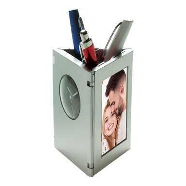 Folding Photo Frame, Clock and Pen Holder