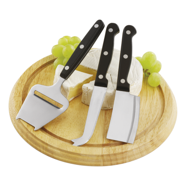 Wooden Cheese Board with 3 Knives
