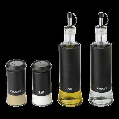 4 Piece Glass Oil & Vinegar and Salt & Pepper Set