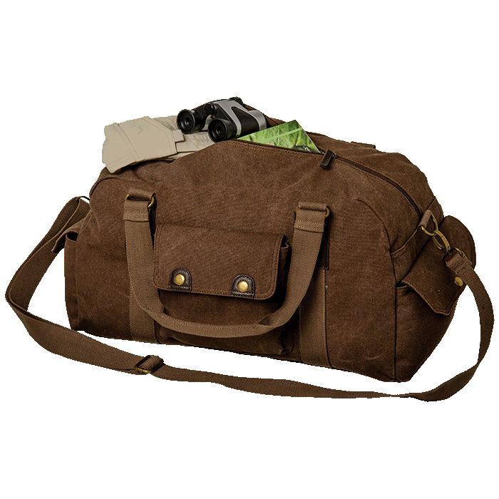 Out of Africa Canvas Duffel Bag with Single Front Pocket