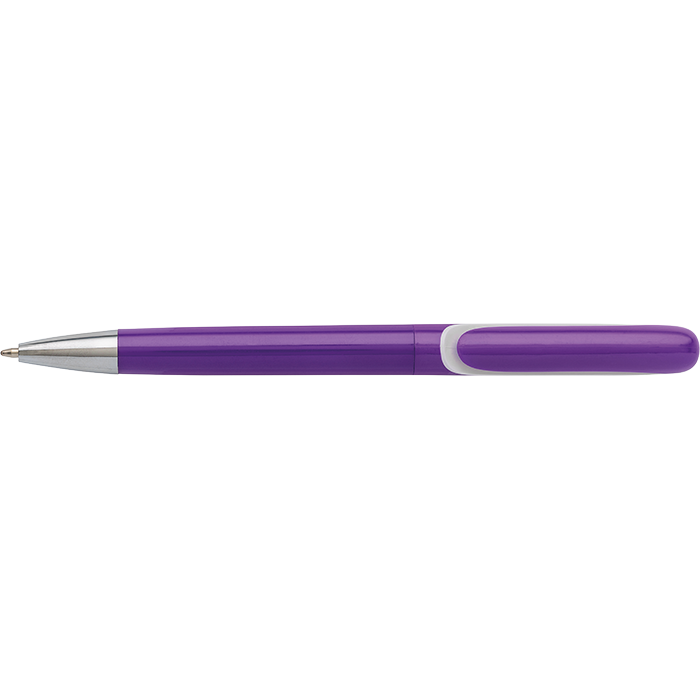 Coloured Barrel Integrated Clip Ballpoint Pen