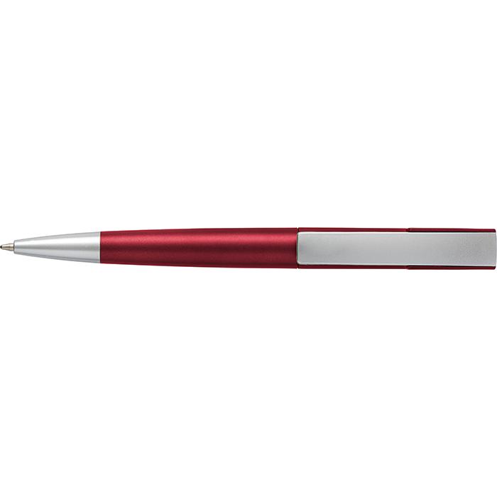 Silver Square Clip Ballpoint Pen