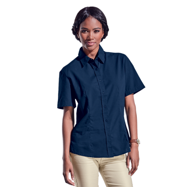 Ladies Basic Poly Cotton Blouse Short Sleeve