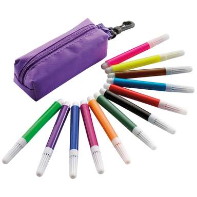 12 Piece Felt Tip Pen Set in Zippered Pouch