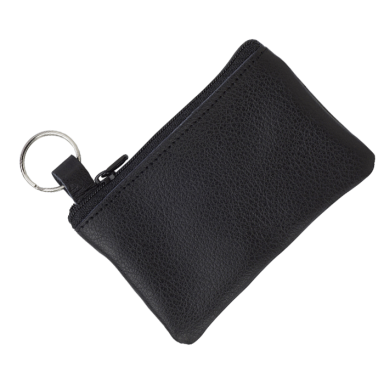 Leather Zippered Pouch with Split Ring