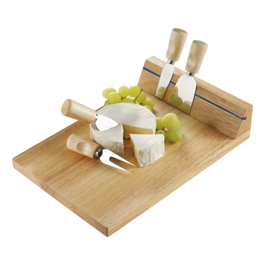 Wooden Cheese Board with Magnetic Strip and 4 Knives