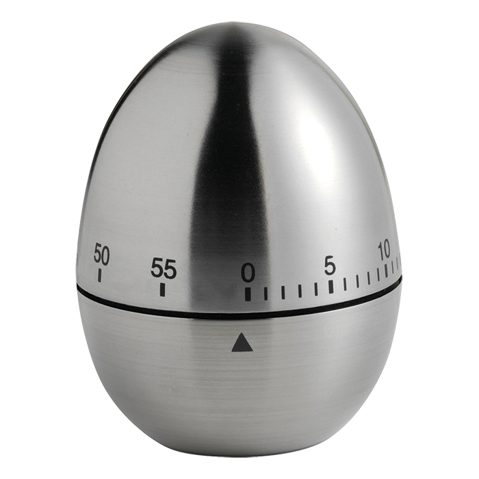 Deluxe Egg Shaped Metal Kitchen Timer