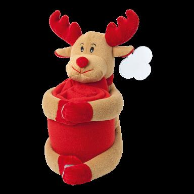 Reindeer Soft Toy with Fleece Blanket