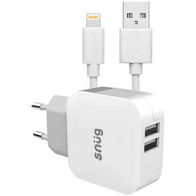 Snug Home Charger With Apple Lightning Charge and Sync Cable