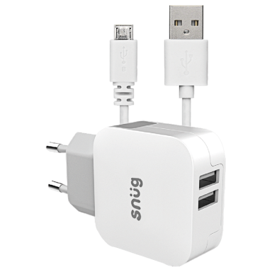 Snug Home Charger With Micro USB Charge and Sync Cable