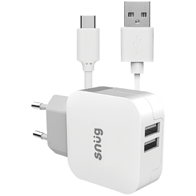 Snug Home Charger With USB Type-C Charge and Sync Cable