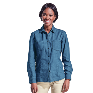 Ladies Denim Blouse Long Sleeve