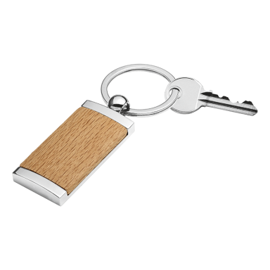 Wooden Keychain With Metal Trim